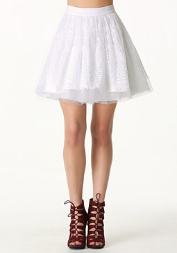 bebe Scalloped Lace Circle Skirt