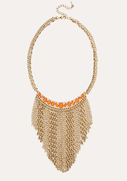 bebe Mix Chain Fringe Necklace