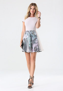 bebe Print Organza Overlay Dress