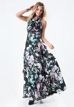 bebe Print Ruffled Gown