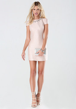 bebe Metallic Jacquard Dress
