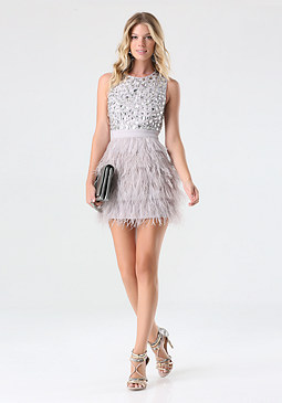 bebe Rhinestone Feather Dress