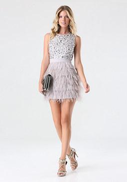 bebe Rhinestone Feather Dress