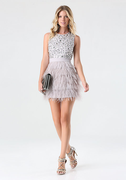Rhinestone Feather Dress | bebe