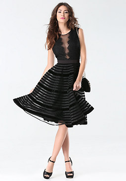 bebe Velvet Stripe Midi Dress