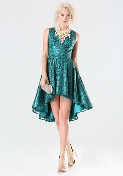 bebe Sequin Hi-Lo Dress