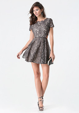 bebe Foil Lace Cutout Dress