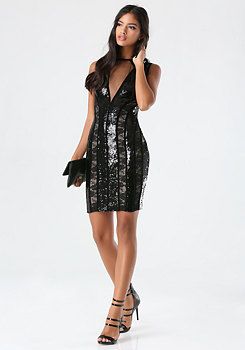 bebe Mesh & Sequin Dress