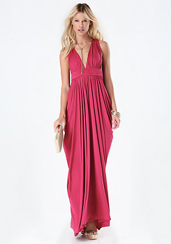 bebe T-Back Draped Jersey Gown