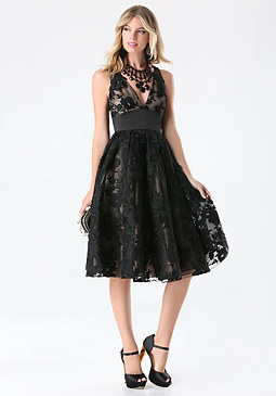 bebe Embroidered Mesh Midi Dress