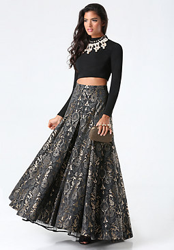 bebe Jacquard 2-Piece Gown
