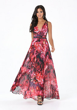 bebe Print Pleated Maxi Dress