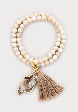 bebe Shell Bead Stretch Bracelet