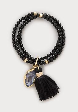 bebe Onyx Bead Stretch Bracelet