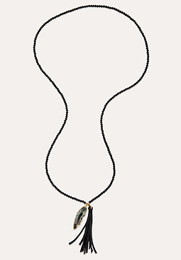 bebe Onyx Bead Necklace