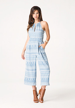 bebe Tribal Denim Jumpsuit