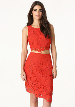 bebe Lace 2-Piece Dress