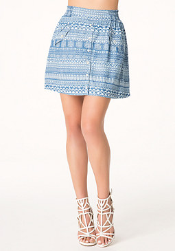 bebe Tribal Print Dirndl Skirt