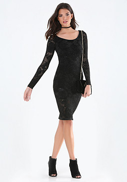 bebe Metallic Lace Bodycon Dress