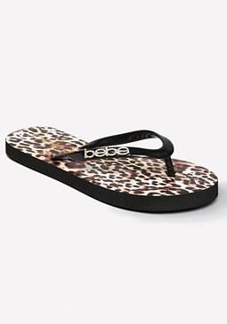 bebe Leopardess Flip Flops