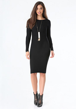 bebe Raglan Sleeve Midi Dress