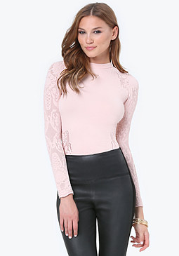 bebe Lace Detail Mock Neck Top