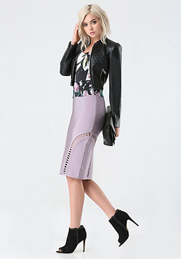 bebe Peekaboo Midi Skirt
