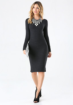 bebe Cross Rib Sweater Dress