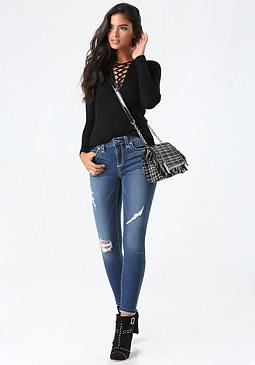 bebe Big Stitch Skinny Jeans