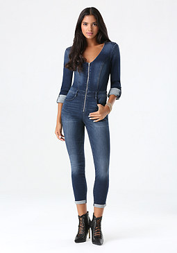 bebe Denim Jumpsuit