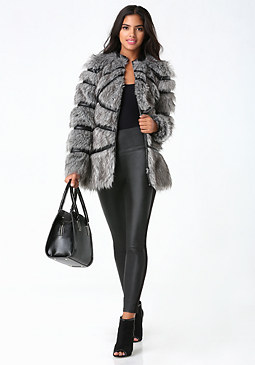 bebe Sculpted Faux Fur Coat