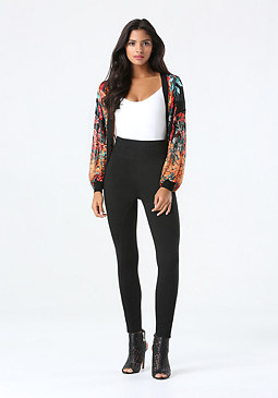 bebe Print Sheer Cardi Sweater