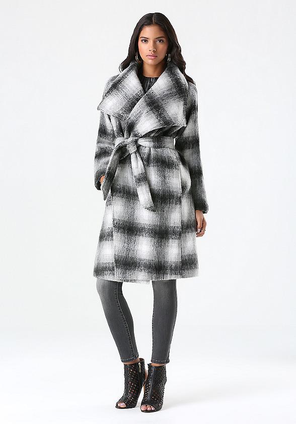 plaid belted wrap coat bebe. Black Bedroom Furniture Sets. Home Design Ideas