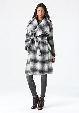 bebe Plaid Belted Wrap Coat