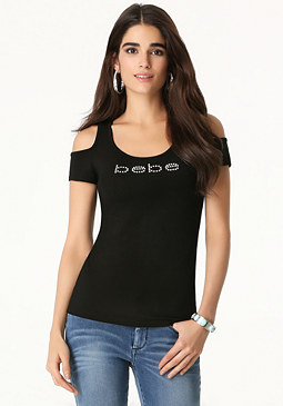 bebe Logo Cold Shoulder Tee