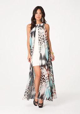 bebe Print Overlay Dress