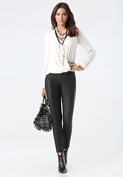 bebe Long Sleeve Surplice Blouse