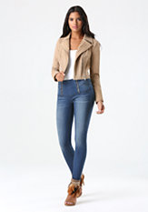 bebe Pieced Suede Moto Jacket