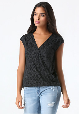 bebe Lace Print Surplice Top