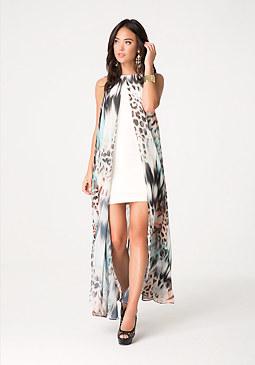 bebe Petite Print Overlay Dress