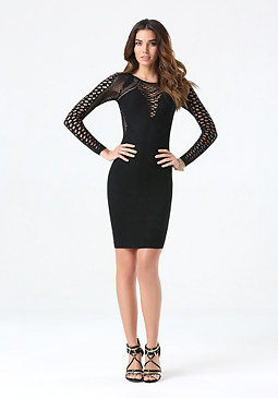 bebe Kim Mesh Sleeve Dress