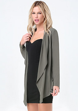 bebe Crepe Draped Coat