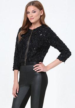 bebe Sequin Floral Jacket