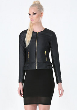 bebe Mary Jo Faux Leather Jacket