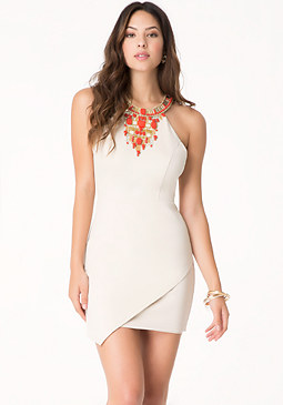 bebe Petite Jeweled Ponte Dress