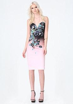 Print Deep V Midi Dress