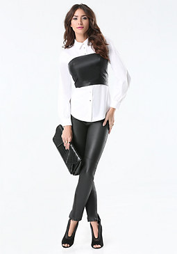 bebe Layered Bustier Shirt