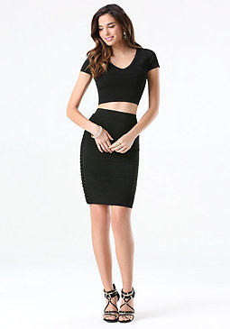 bebe Lattice Bandage Skirt