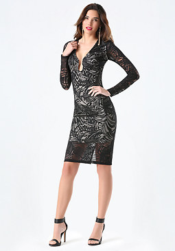 bebe Lace Plunge Neck Midi Dress