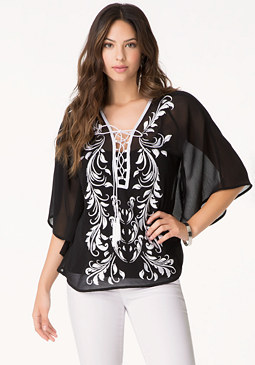 bebe Embroidered Lace Up Kaftan